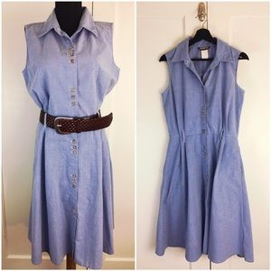 Vtg Chambray Shirt Dress & Michael Kors Belt Sz L